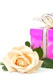 Rose e presente crema. fotografia stock