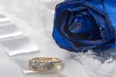 Rose ed anelli di cerimonia nuziale fotografie stock libere da diritti
