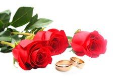 Rose ed anelli di cerimonia nuziale rossi Immagini Stock Libere da Diritti