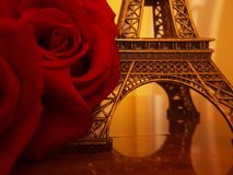 Rose and Eiffel tower Stock Images
