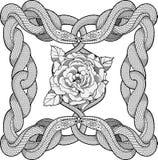 Rose in einem Rahmen gemacht von vier Schlangen Stockbild