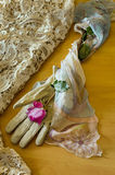 Rose on an elegant female glove. With table cloth and a veil Stock Photography