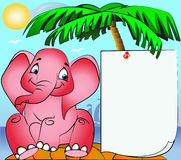 Rose elephant on island and paper pinning on palm Royalty Free Stock Image