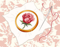 Rose Embroidery, Damask Background Royalty Free Stock Photography
