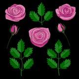 Rose Embroidery Patch Set vektor abbildung