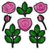 Rose Embroidery Patch Set lizenzfreie abbildung