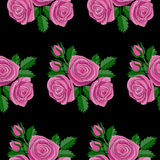 Rose Embroidery Seamless Pattern rosa Immagine Stock