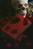 Rose en el libro, cierre para arriba Imagenes de archivo
