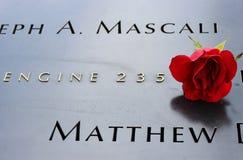 Rose en 9/11 monumento Fotos de archivo libres de regalías