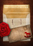 Rose, envelope and card Stock Photo