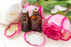 Rose essential aroma oil Stock Image