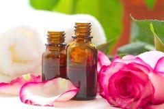 Rose essential aroma oil Stock Photos