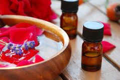 Rose and essential oils Stock Photo