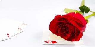 Rose et carte Photographie stock libre de droits