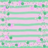 Rose et cercles verts sur le fond rayé illustration libre de droits