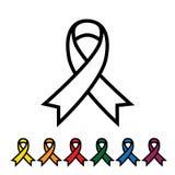 Rose et d'autres rubans de couleur avec des frontières, awarene de cancer du sein Image libre de droits