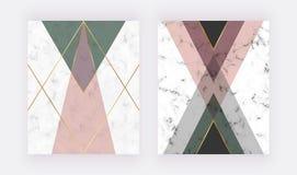 Rose et dessin géométrique vert avec les lignes d'or Conception de mode pour la bannière, insecte, affiche, invitation de mariage illustration de vecteur