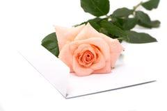 Rose et enveloppe Photographie stock libre de droits