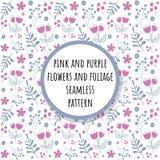 Rose et fleurs pourpres et modèle sans couture de feuillage illustration libre de droits