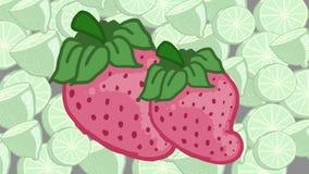 Rose et fond de fraise aigres Image stock