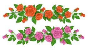 Rose et frontière rose d'orange pour la décoration Images stock
