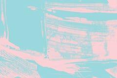 Rose et texture peinte à la main bleue de fond avec les courses grunges de brosse photos stock