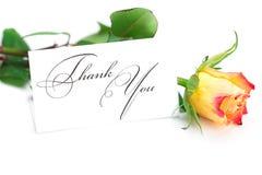Rose et une carte avec les mots vous remercient Photos stock