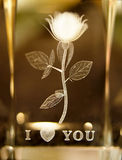 Rose etched in glass. Rose and I love you with a heart etched in glass Stock Photography