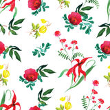 Rose and exotic flower watercolor seamless vector print Royalty Free Stock Photo