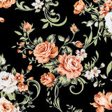 Rose Fabric background, Fragment of colorful retro tapestry text Royalty Free Stock Photos