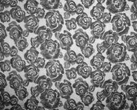 Rose Fabric-Hintergrund Schönes Schwarzweiss-Muster in ROS Stockbilder