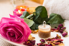 Rose Face Mask preparation set Royalty Free Stock Photography