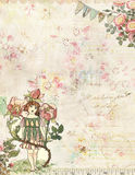 Rose Fairy with flowers vintage background stock illustration
