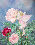 Rose fairy painting with little girl and flower. Stock Image
