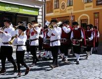 Rose Festival Cinque-petalled in Cesky Krumlov nel Republ ceco Immagine Stock Libera da Diritti