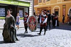 Rose Festival Cinque-petalled in Cesky Krumlov nel Republ ceco Immagini Stock