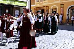 Rose Festival Cinque-petalled in Cesky Krumlov nel Republ ceco Immagini Stock Libere da Diritti