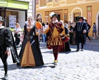 Rose Festival Cinque-petalled in Cesky Krumlov nel Republ ceco Immagine Stock