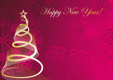 Rose festive background. With fir tree and snowflake Stock Photo