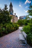 The Rose Fitzgerald Kennedy Greenway and Custom House Tower in B Stock Images