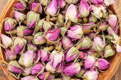 Rose flavour spice. In wooden bowl Stock Images