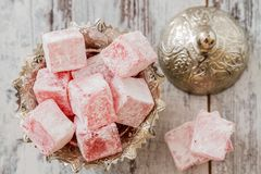 Rose Flavoured Turkish Delight stock foto's