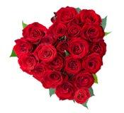 Rose fleurit le coeur au-dessus du blanc Photographie stock libre de droits