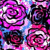 Rose fleurit le modèle expressif d'encre de métier sans couture de main illustration stock