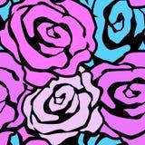 Rose fleurit le modèle expressif d'encre de métier sans couture de main illustration libre de droits