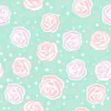 Rose fleurit le modèle tiré par la main numérique sans couture d'encre Affiche avec différents griffonnages pour le tissu, s'enve images stock