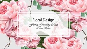 Rose fleurit le vecteur de carte de calibre de fond Décor réaliste de la conception 3d Photos libres de droits