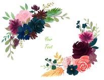 Rose floral Bourgogne de composition en cru d'aquarelle et bleu marine illustration stock