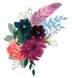 Rose floral de composition en vintage d'aquarelle et fleurs bleues et plumes de bouquet floral illustration de vecteur