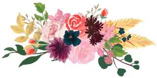 Rose floral de composition en vintage d'aquarelle et fleurs bleues et plumes de bouquet floral illustration stock